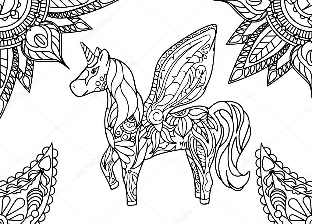 1024x737 Unicorn With Mandala And Paisley Ornament. Horizontal Adult