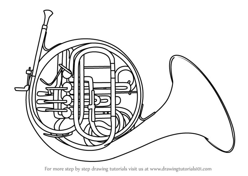 800x567 Learn How To Draw A French Horn (Musical Instruments) Step By Step