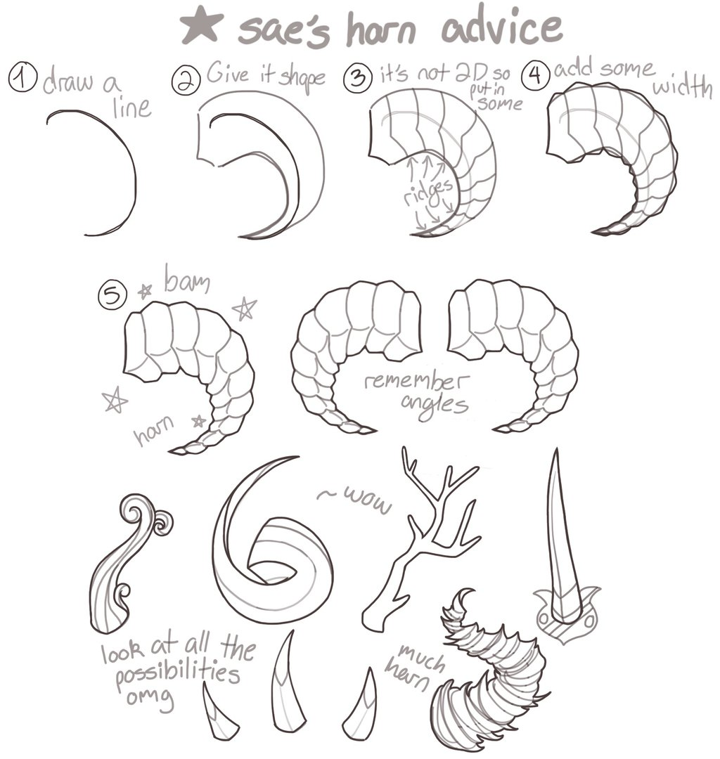 1024x1080 How I Draw Horns By Kinsae