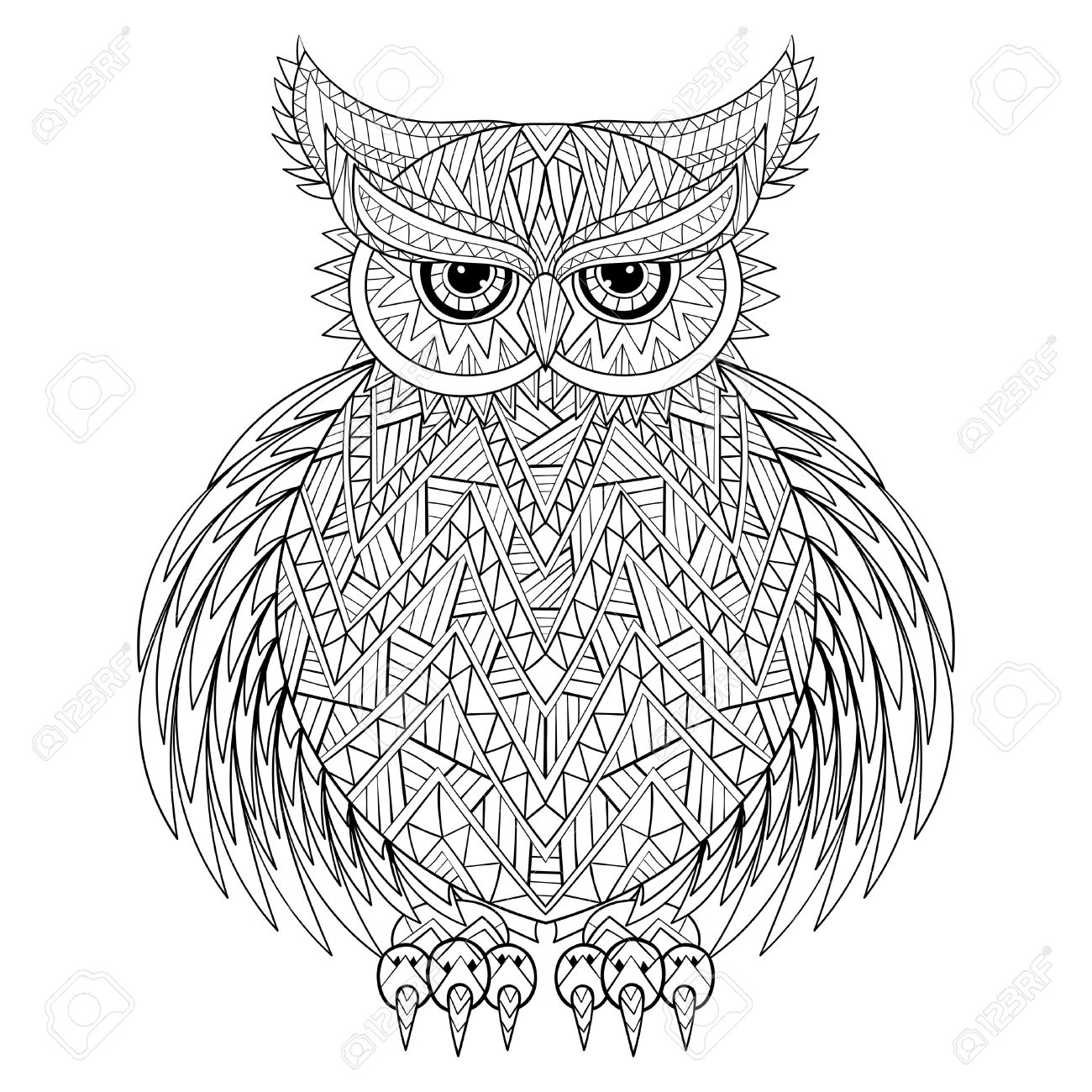 Horned Owl Drawing at GetDrawings.com | Free for personal use Horned ...