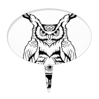 324x324 Owl Drawing Cake Toppers Zazzle