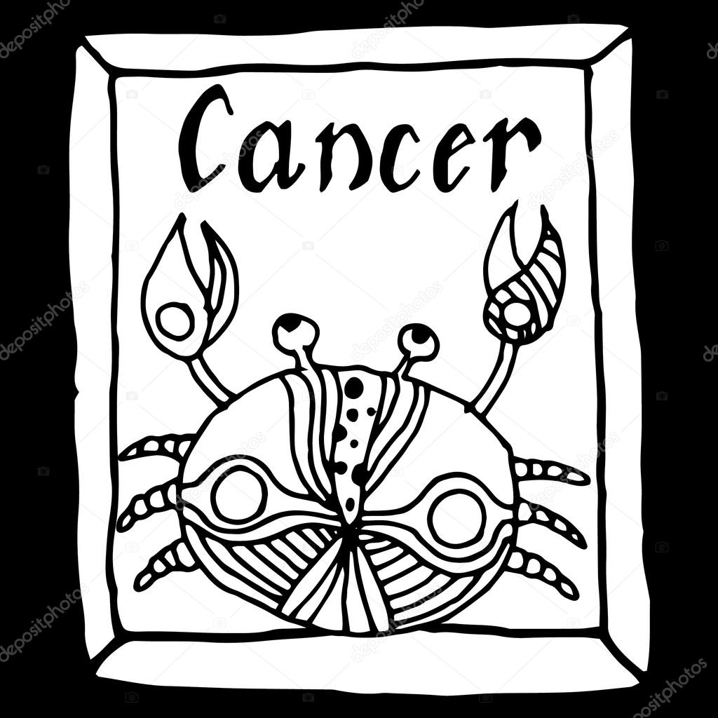 1024x1024 Cancer Horoscope Sign Vectorized Hand Draw Stock Vector Zelena