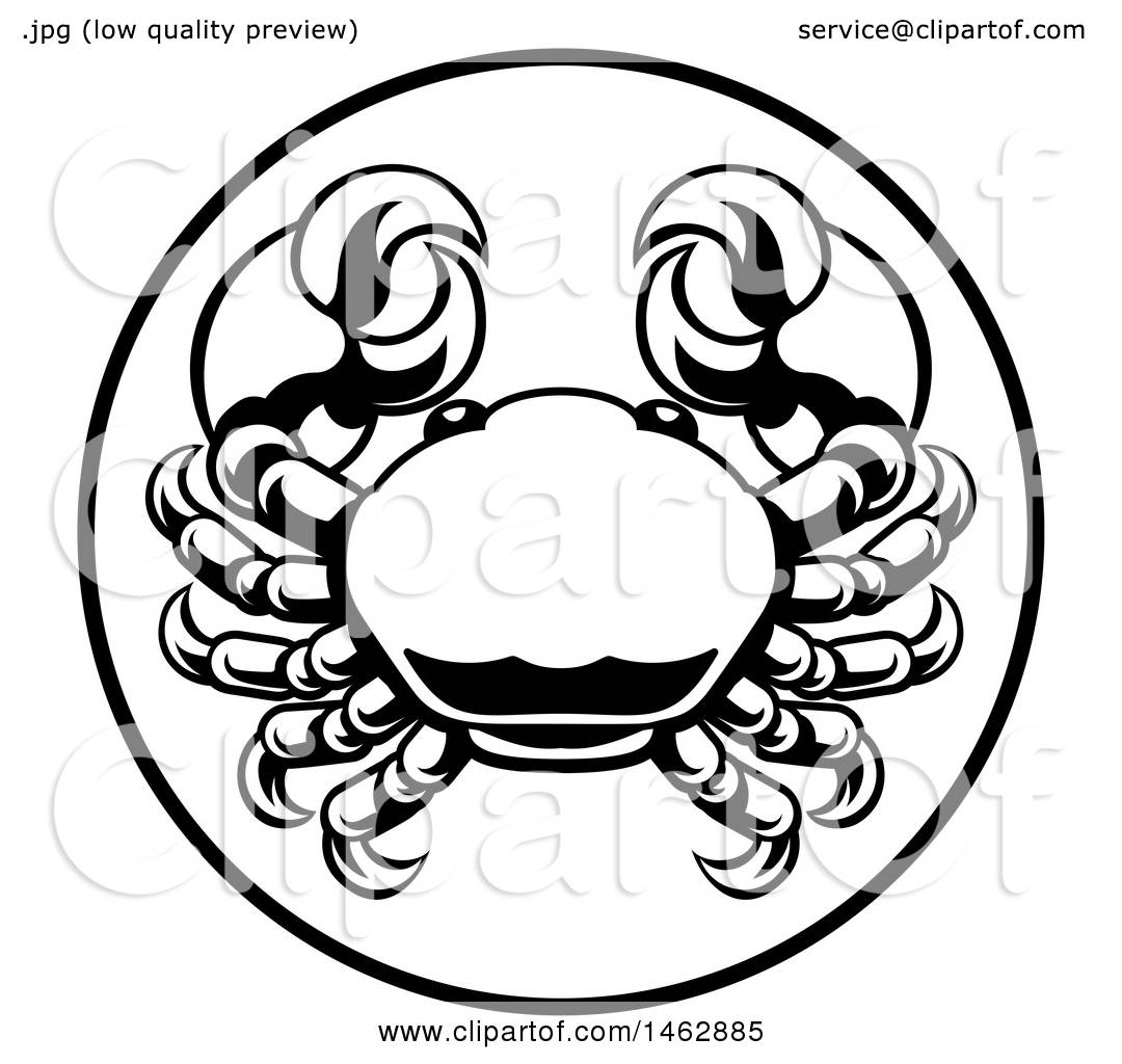 1080x1024 Clipart Of A Black And White Zodiac Horoscope Astrology Cancer