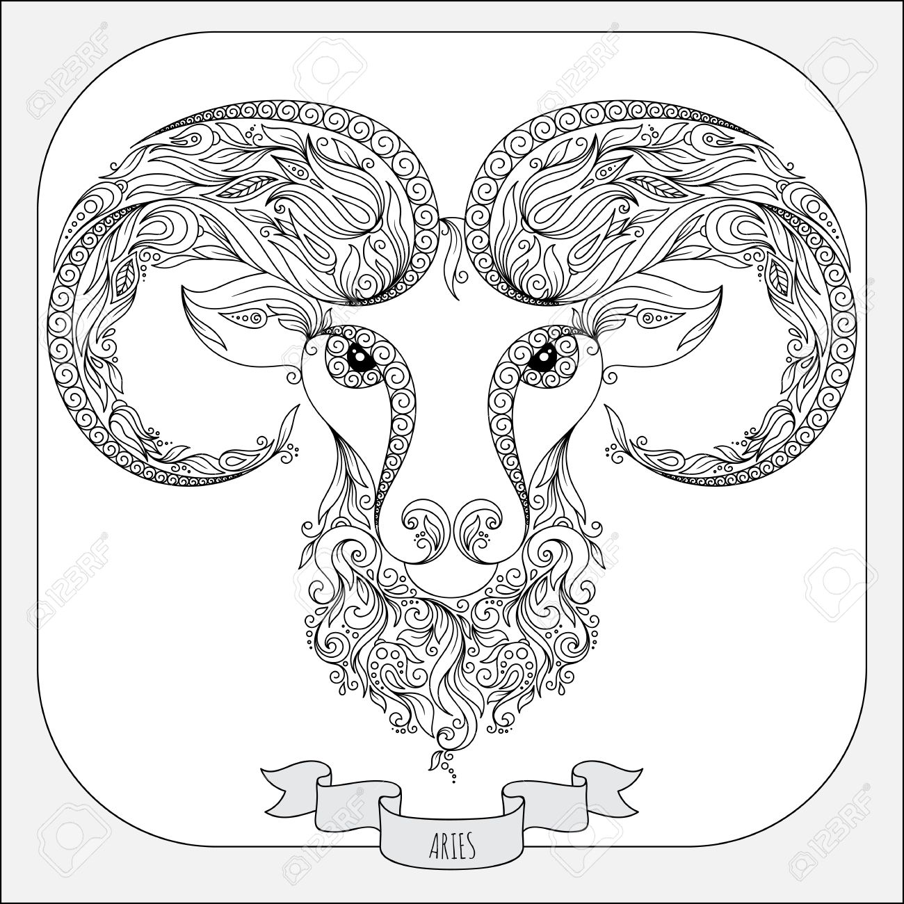 1300x1300 Pattern For Coloring Book. Hand Drawn Line Flowers Art Of Zodiac
