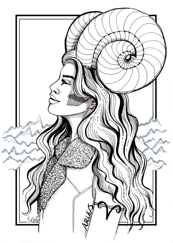 570x798 Aries Zodiac Print Star Sign Print Horoscope Drawing Aries