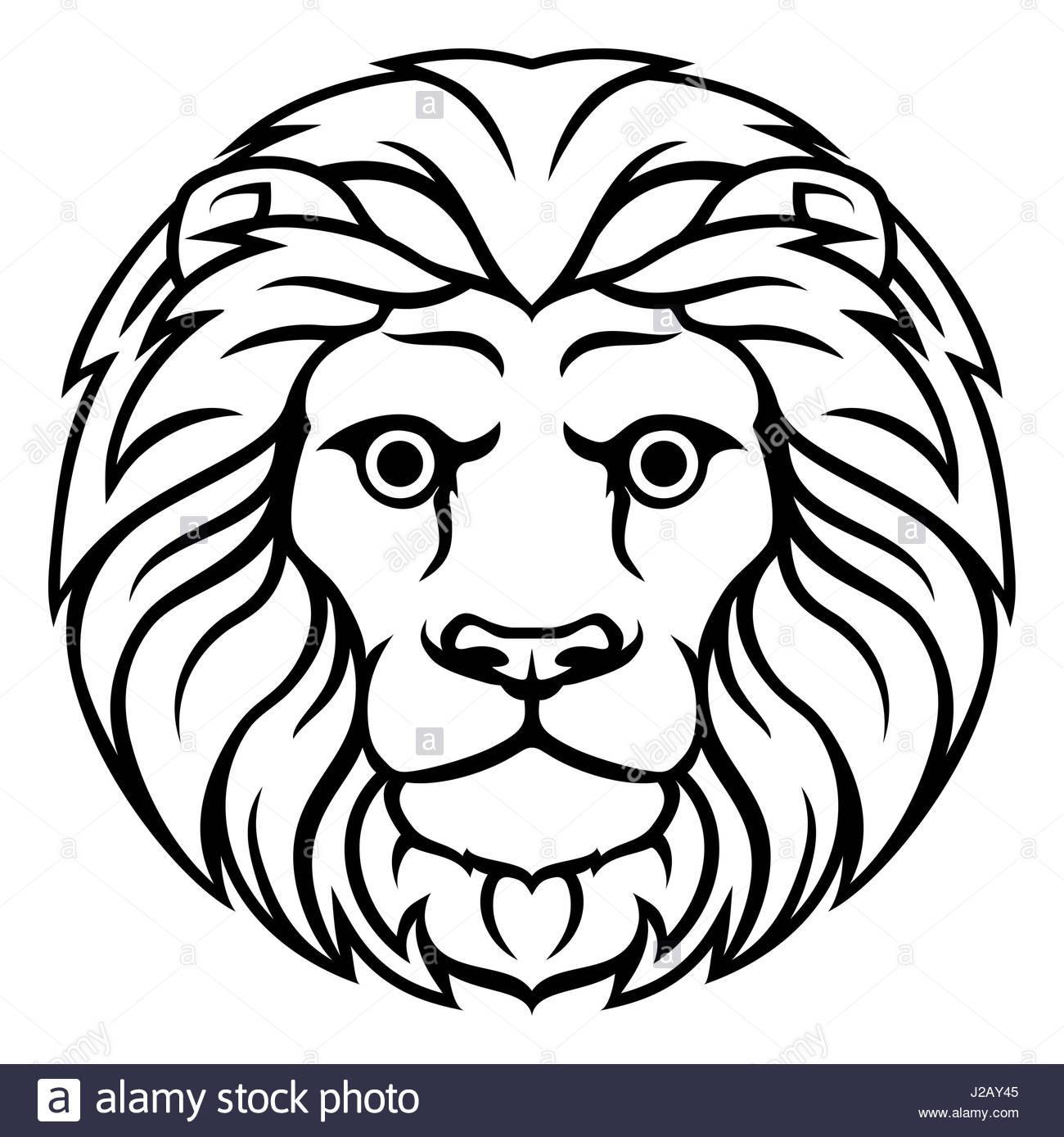 1300x1388 Astrology Horoscope Zodiac Signs, Circular Leo Lion Symbol Stock