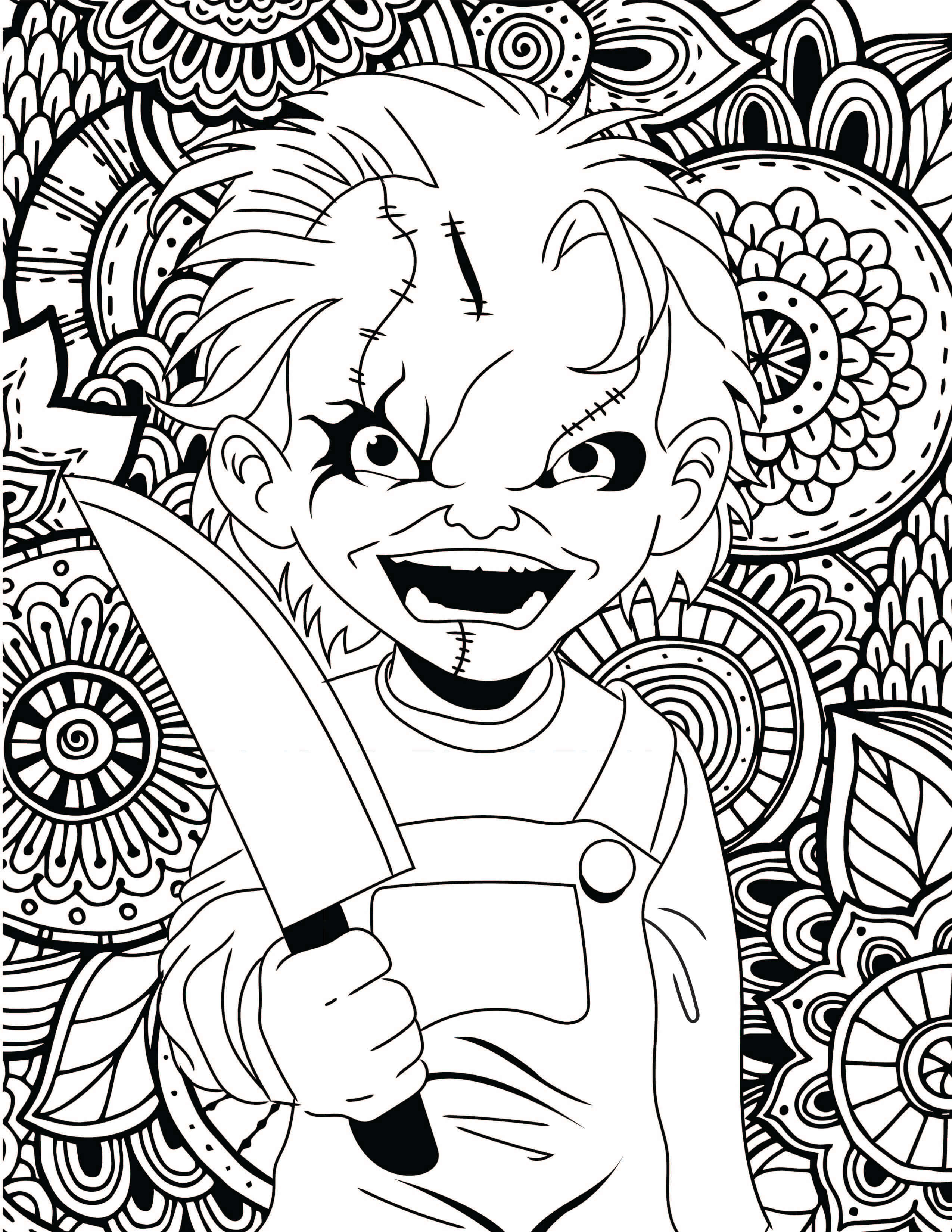 2550x3300 Horror Movies Printable Coloring Pages Costume Supercenter Blog