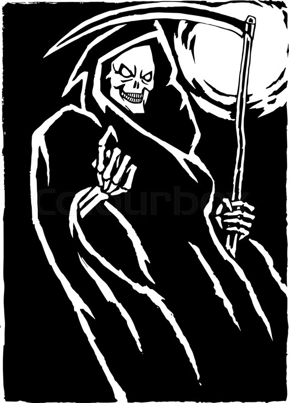 574x800 The Grim Reaper.black And White Colors. Scary Horror Character