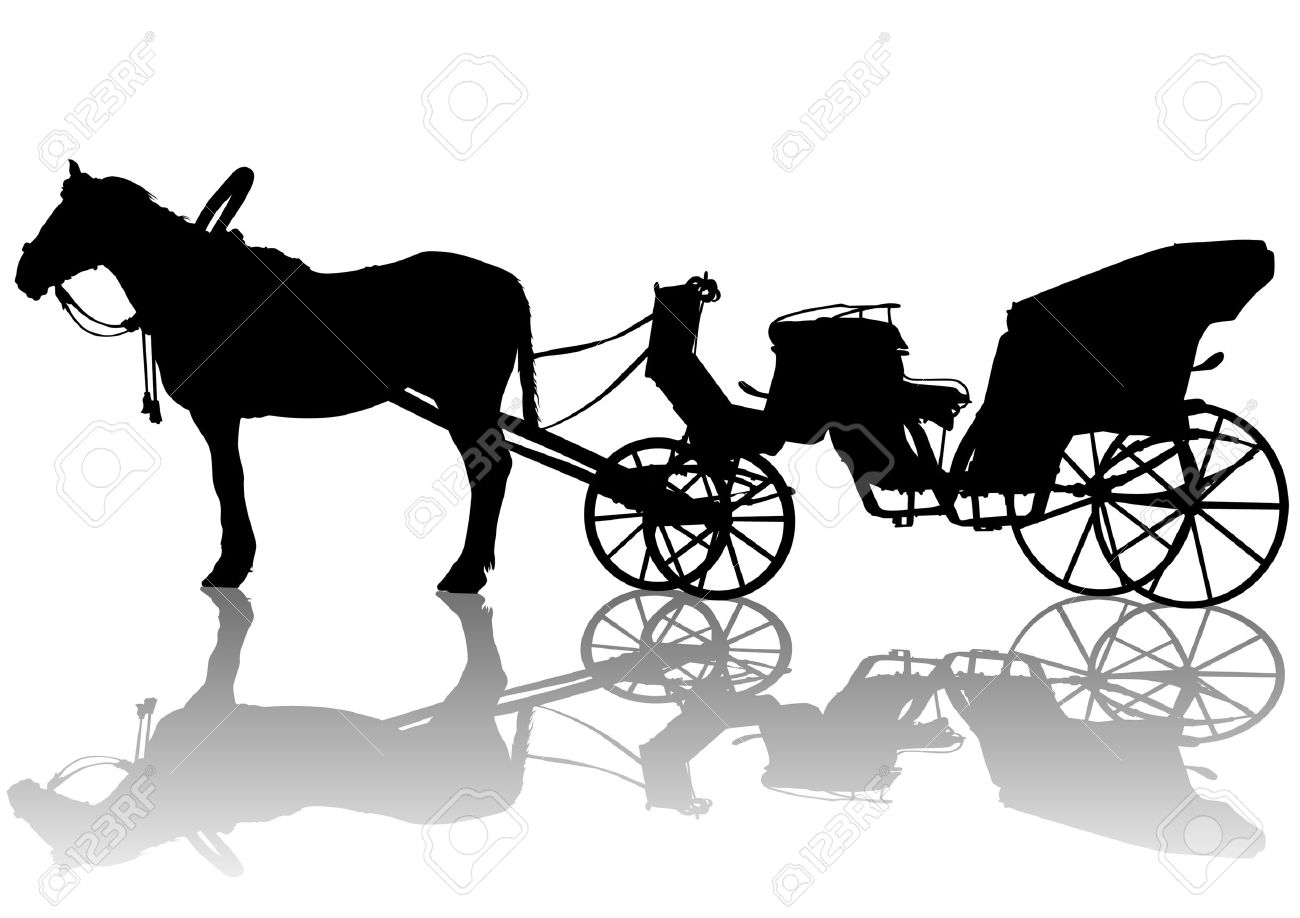 1300x918 Drawing Carriage And Horses. Silhouette On White Background