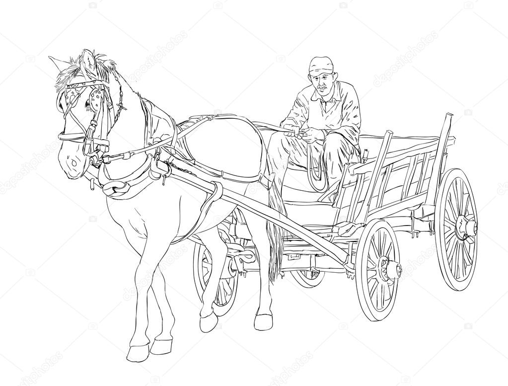 1023x777 Horse Cart Sketch Stock Vector Predragilievsi