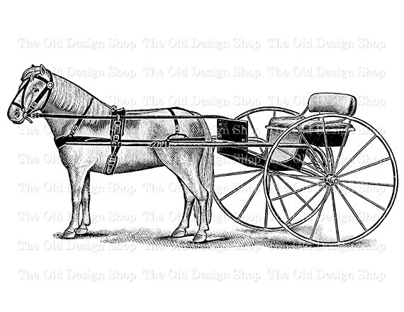 570x440 Horse And Buggy Vintage Clip Art Printable Farm Illustration