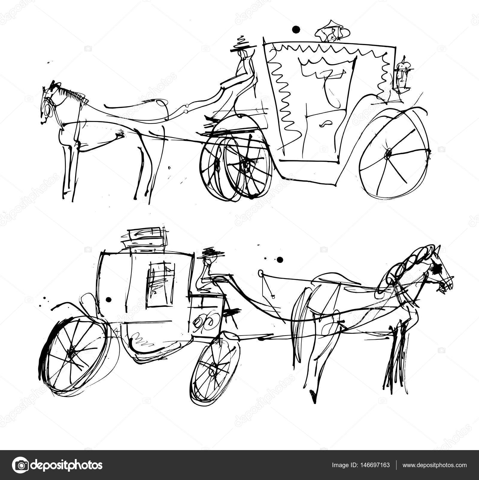 1600x1605 Horse Carriage Sketch Stock Vector Dmitriyp