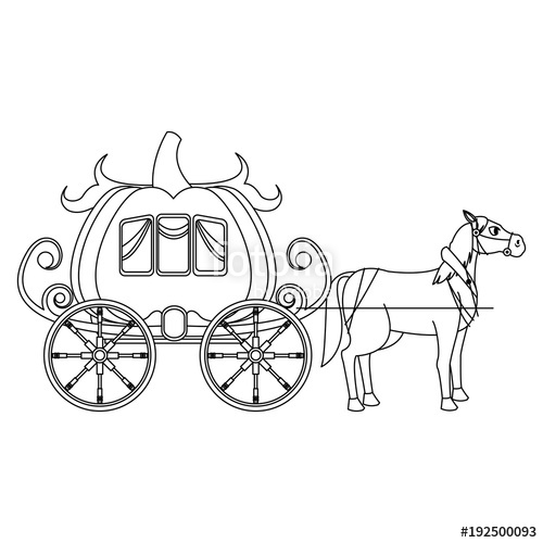 500x500 Pumpkin Carriage With Horse Cartoon Icon Vector Illustration