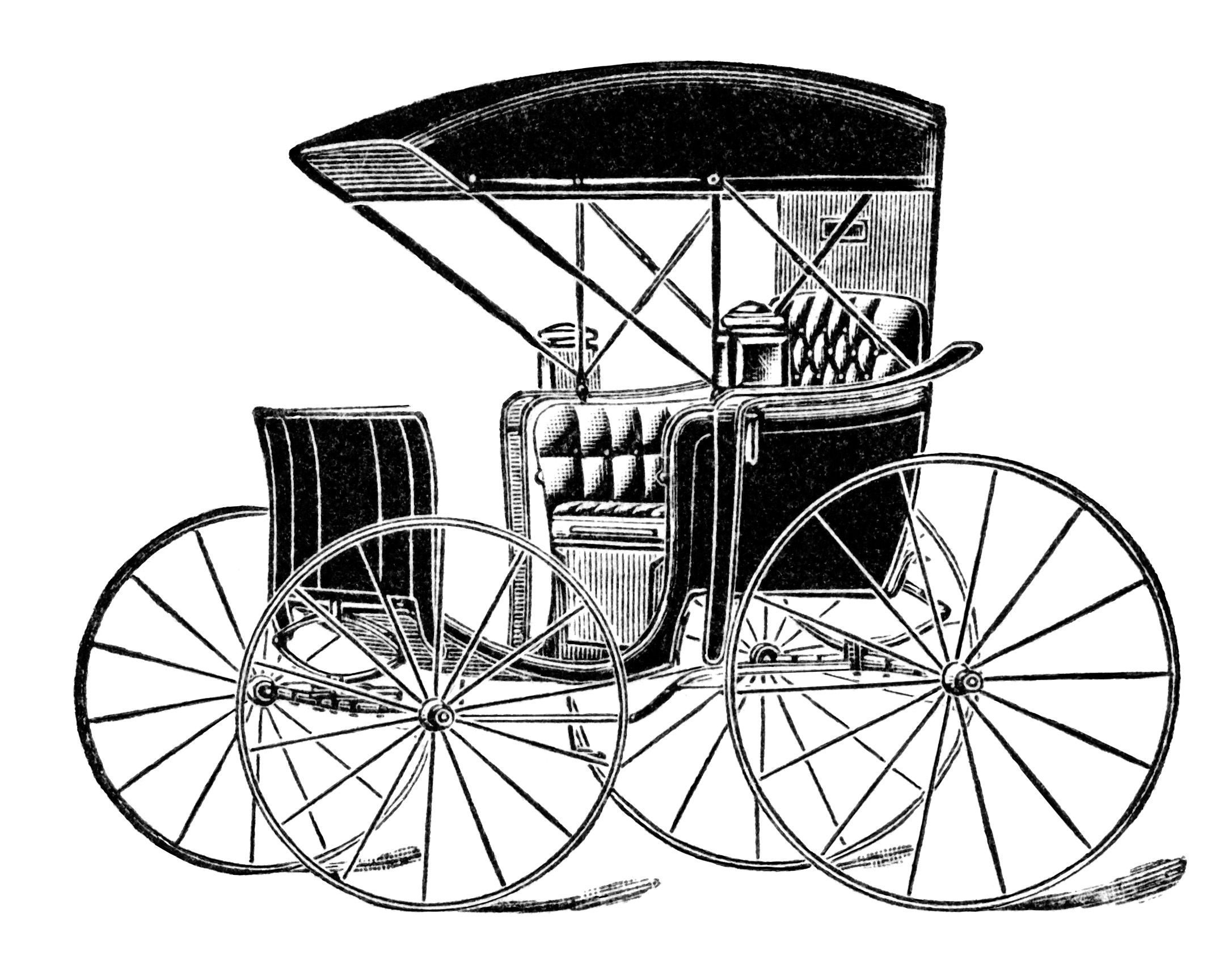 2172x1692 Horse Drawn Carriage Clip Art, Vintage Transportation Image, Black