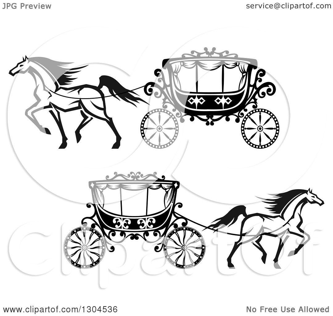 1080x1024 Clipart Of Black And White Prancing Horses Wedding Carriages