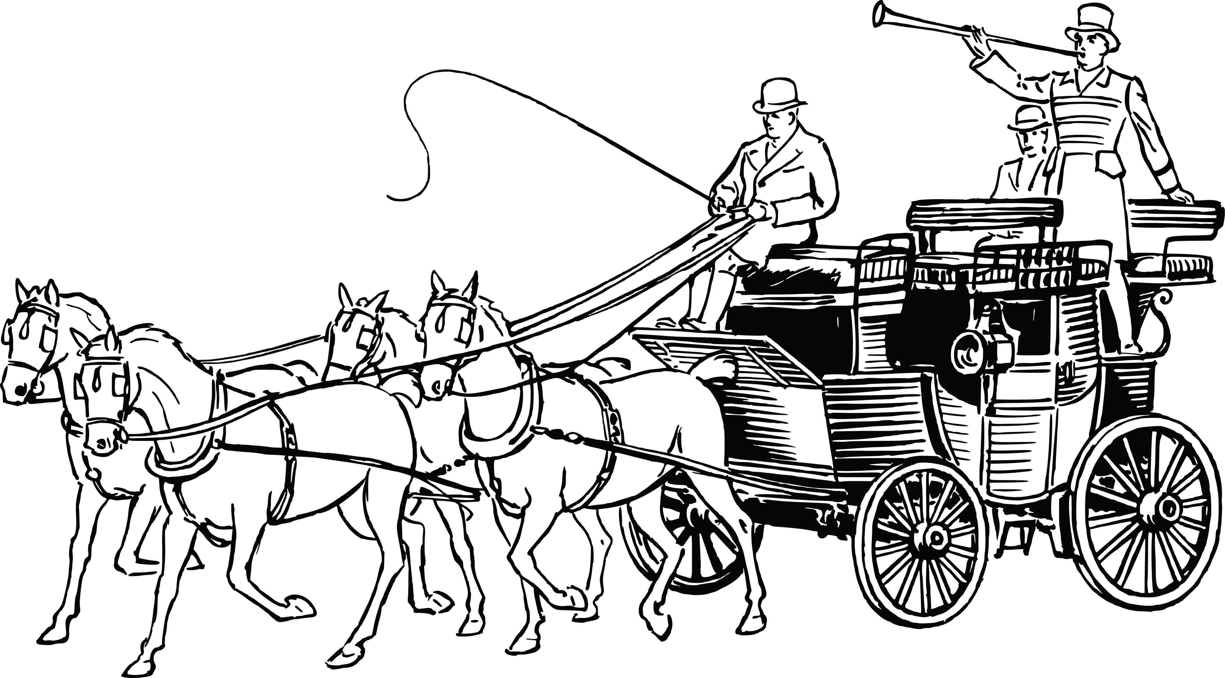 4000x2213 Clipart Of A Retro Black And White Horse Drawn Carriage