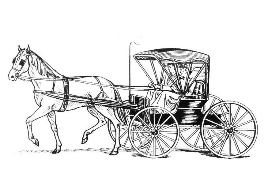 875x620 Coloring Page Horse With Carriage