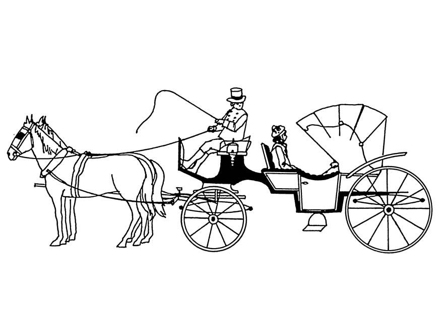 875x620 Coloring Page Horses And Carriage