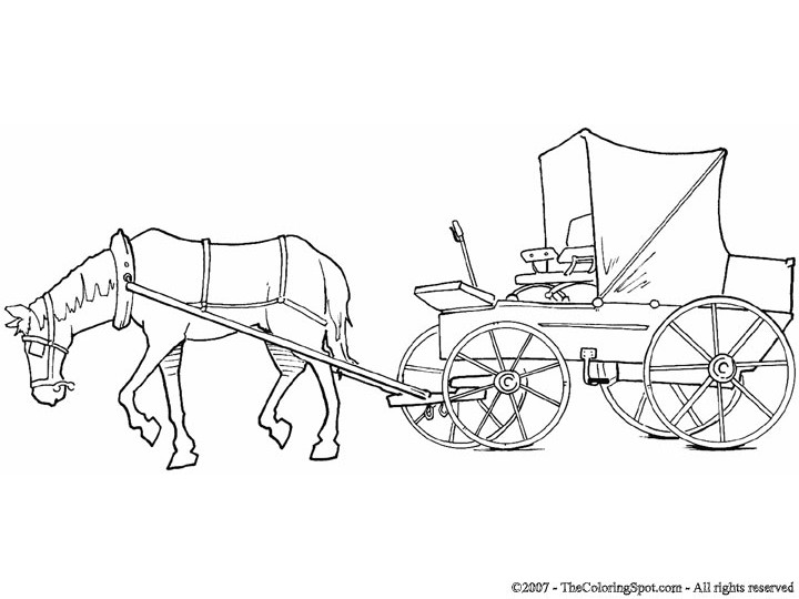 720x540 Horse And Cart Coloring Pages