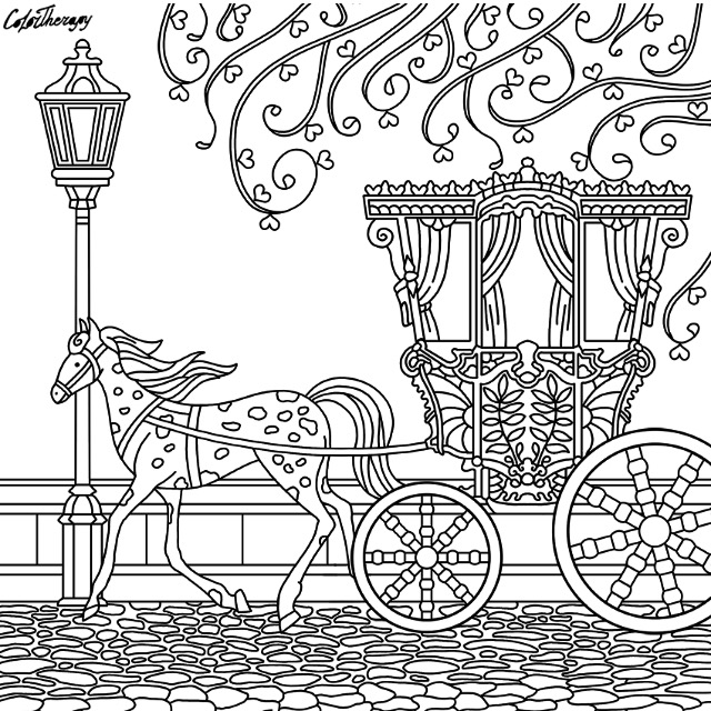 640x640 Horse And Carriage Coloring Page Pages For Adults