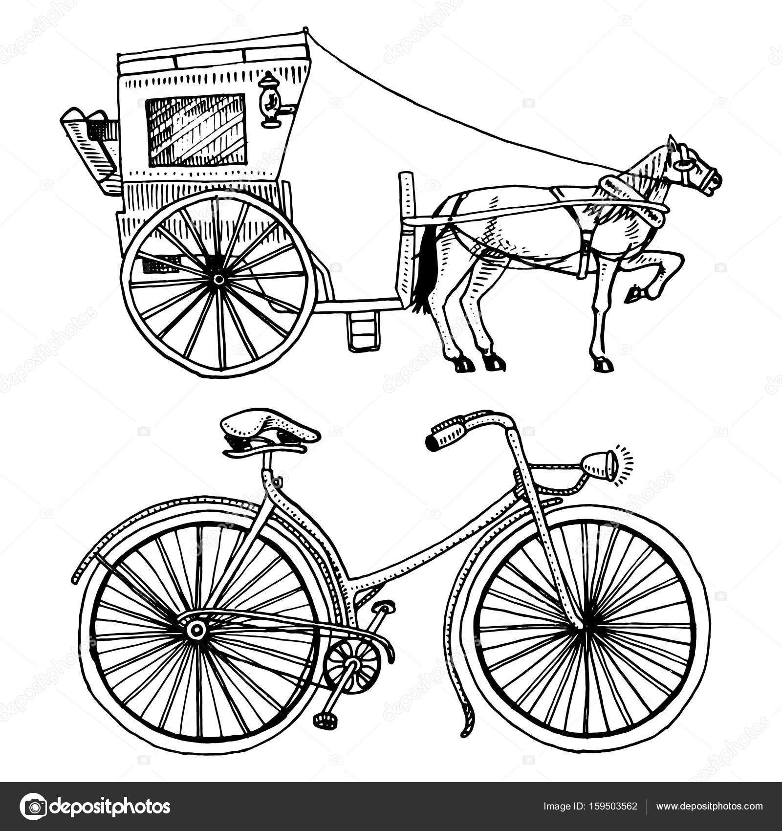 1600x1700 Horse Drawn Carriage Or Coach And Bicycle, Bike Or Velocipede