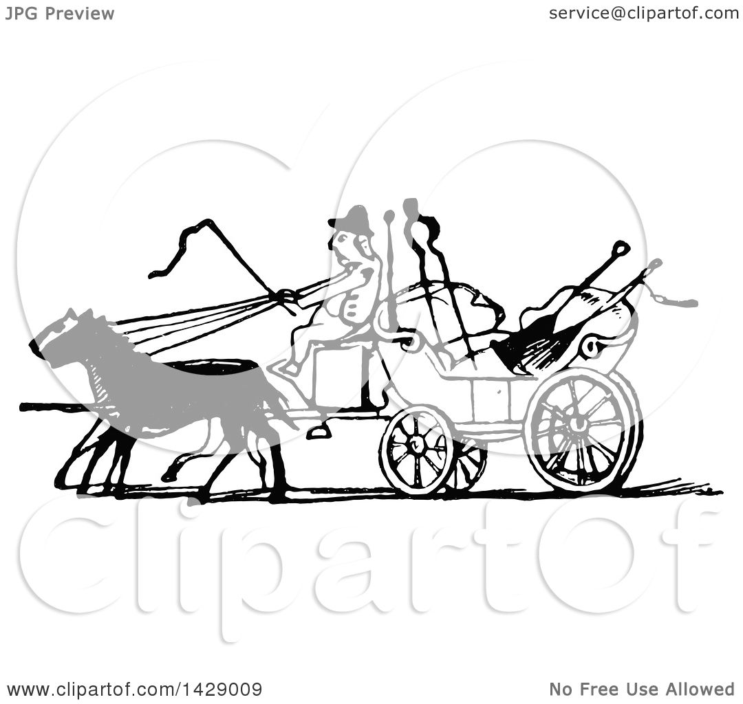 1080x1024 Clipart Of A Vintage Black And White Man Driving A Horse Drawn