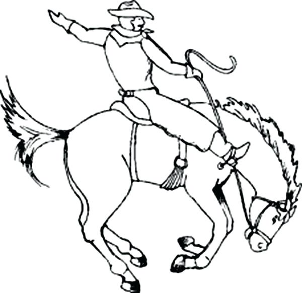 600x582 Cowboy Coloring Pages Printable Cowboy Sitting On Crazy Horse
