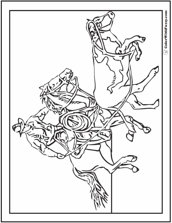 590x762 Cowboy Horse Coloring Page