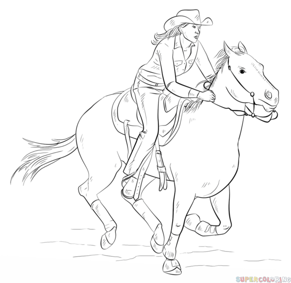 592x575 How To Draw Cowgirl On A Horse Step By Step. Drawing Tutorials