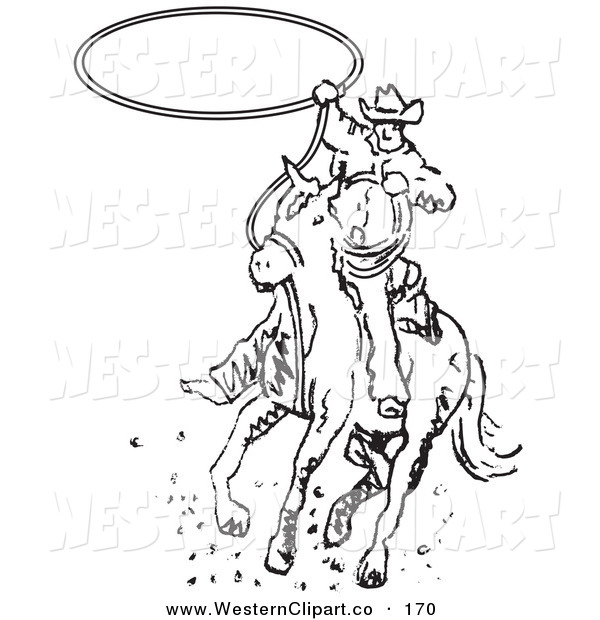 600x620 Vector Western Clip Art Of A Sporty Roper Cowboy On A Horse