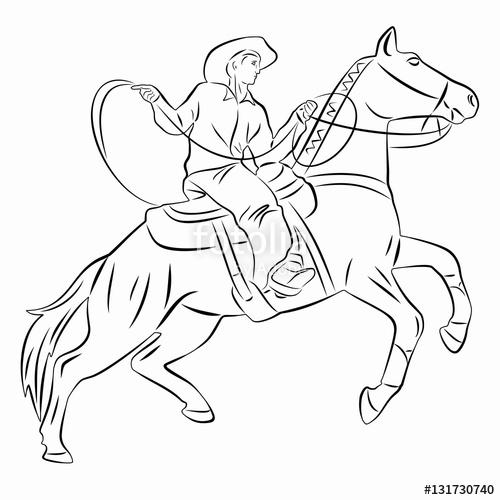 500x500 Silhouette Of A Cowboy On Horseback. Vector Drawing Stock Image