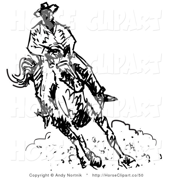 600x620 Clip Art Of A Roper Cowboy On A Horse, Kicking Up Clouds Of Dust