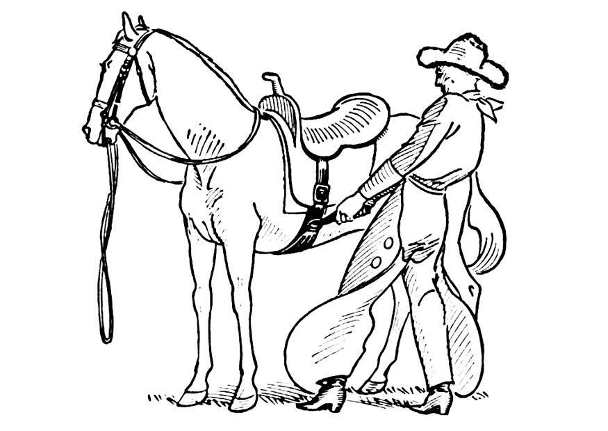875x620 Coloring Page Cowboy Saddles Horse