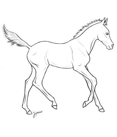 400x468 Free Foal Lineart By On @