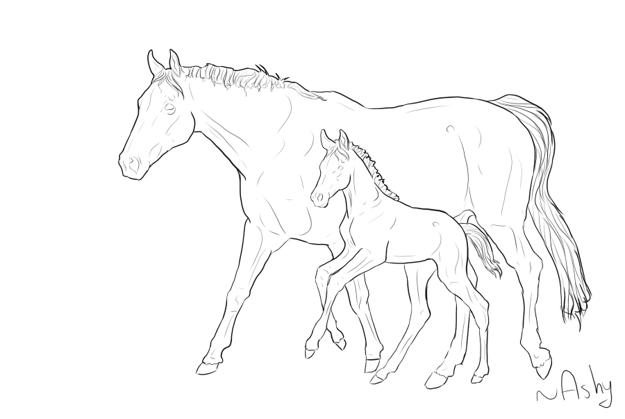 900x603 Horse Lineart 6 Mare And Foal By Psitsashy