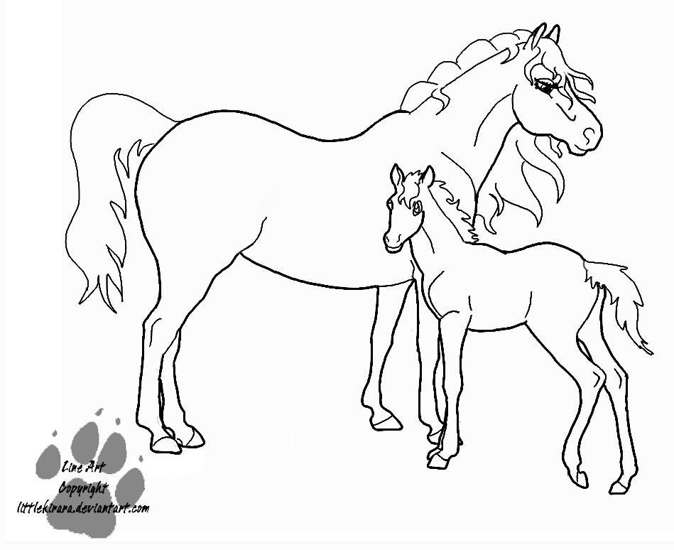 949x774 Line Art Mare And Foal By Littlekirara
