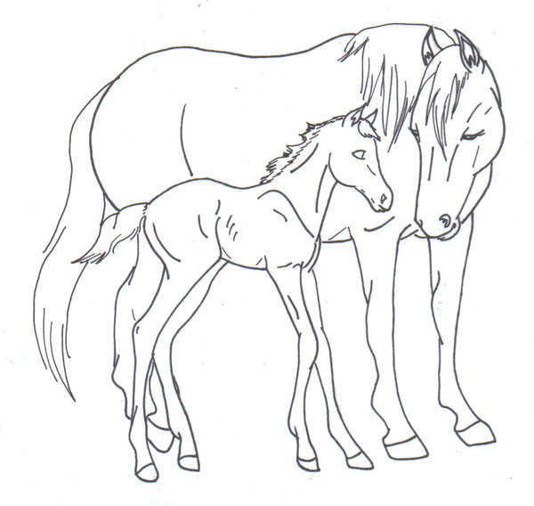 600x568 Mare And Foal Line Art By Doomwing