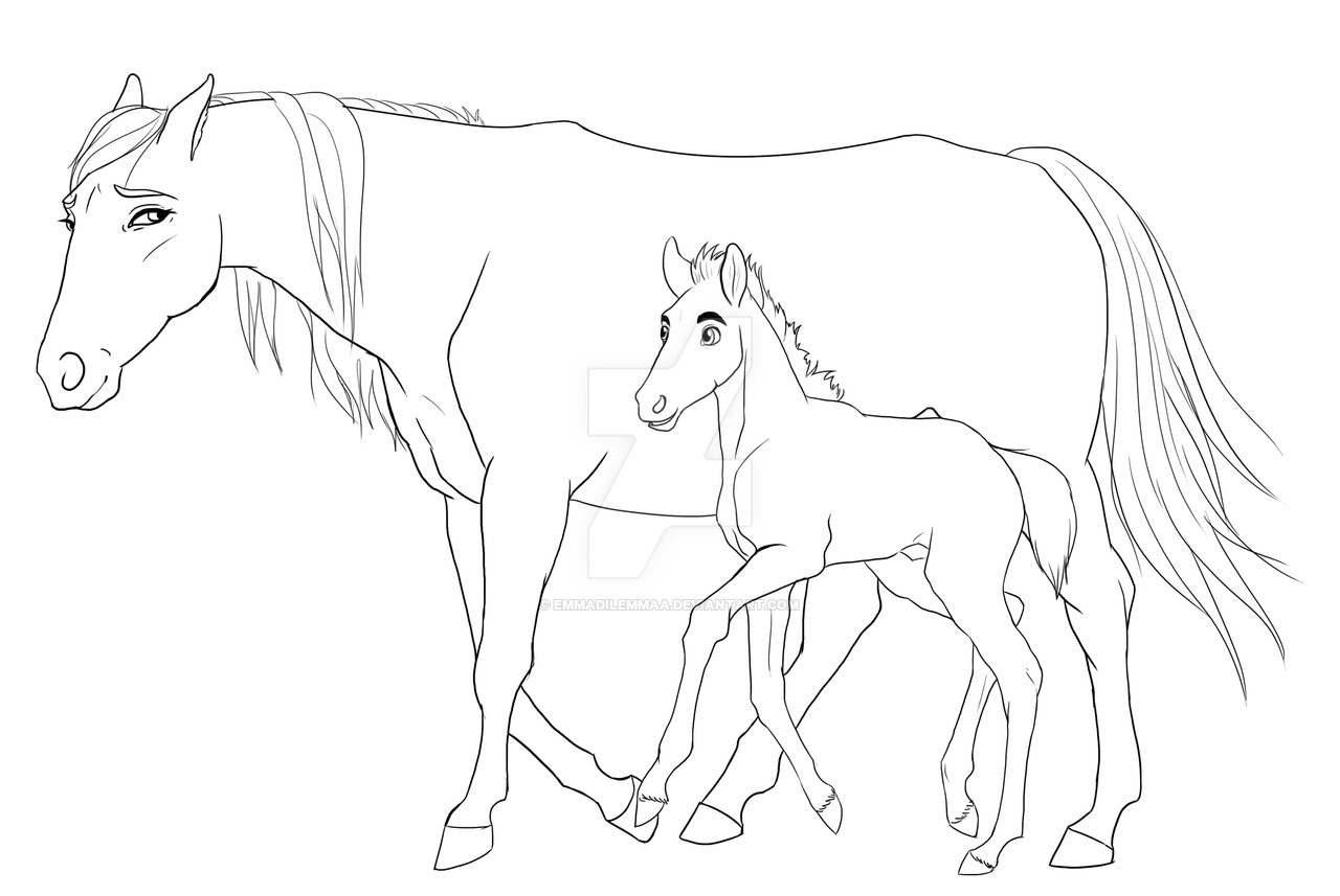 1280x857 Mare And A Foal Line Art By Emmadilemmaa