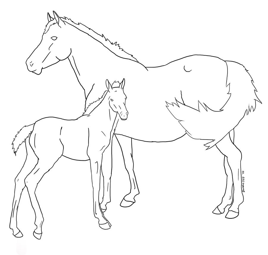 900x857 Mare And Foal Lineart 2 By Croftequineart
