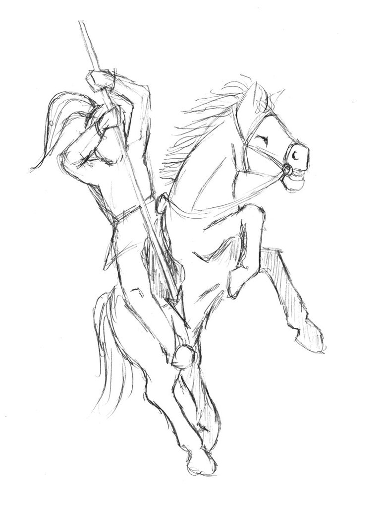781x1022 Horse And Rider Sketch By Guruhoro