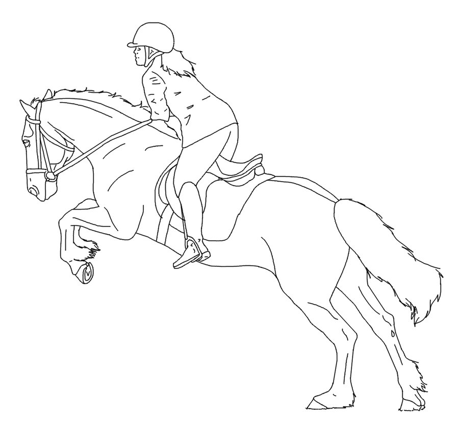 900x837 Horse And Rider Lines 04 By Equineribbon