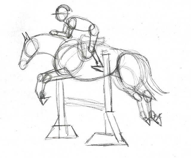 640x528 Pencils Ready Draw A Jumping Show Horse Drawing Lessons