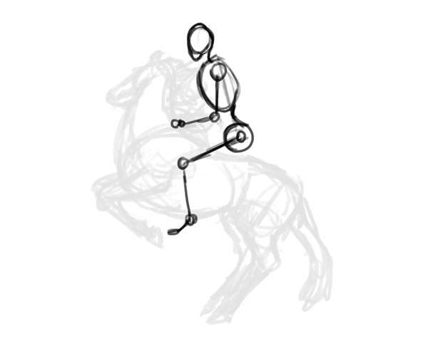 600x486 How To Draw Horse Rider Pose Sitting Rearing 3 Anatomy Ref