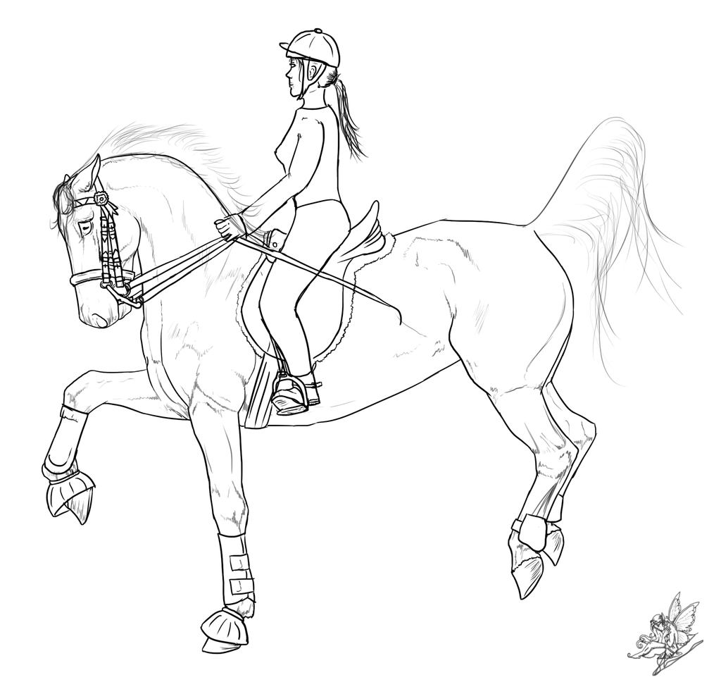 1024x968 Horse And Rider Drawing