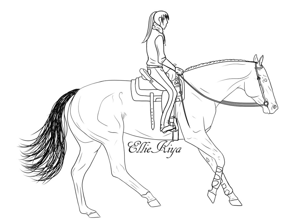 1057x755 Horse Lope Lineart With Rider By Elliekiya
