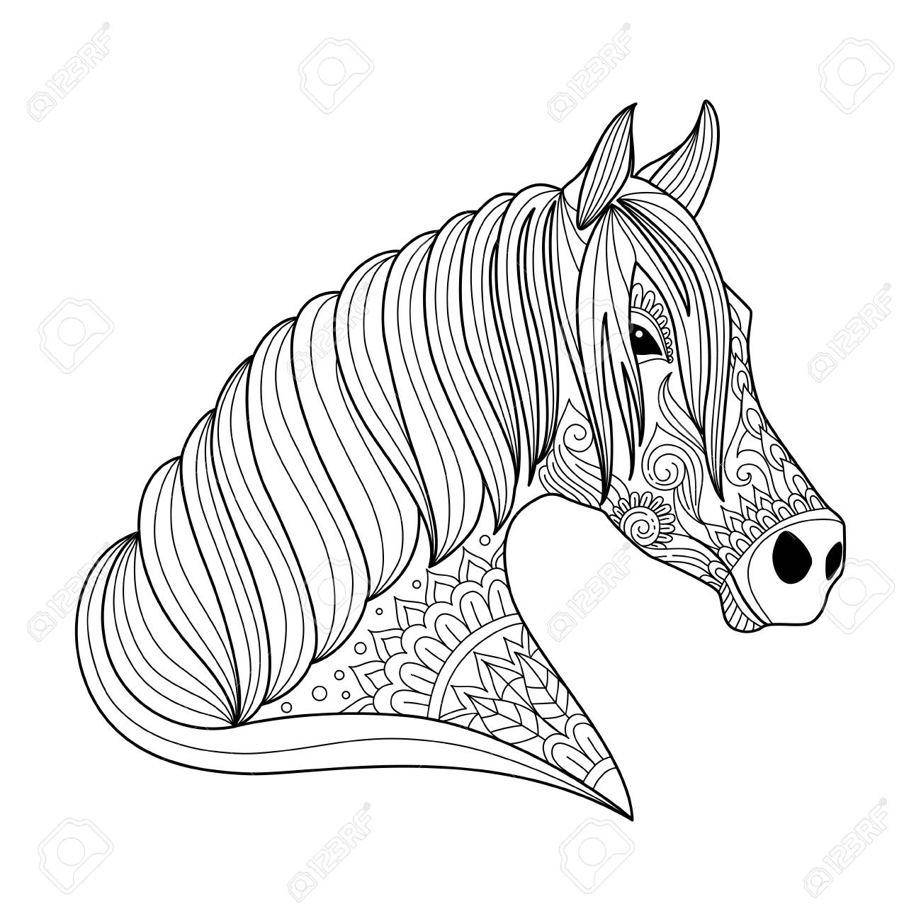 1300x1300 Drawing Horse Zentangle Style For Adult And Children Coloring