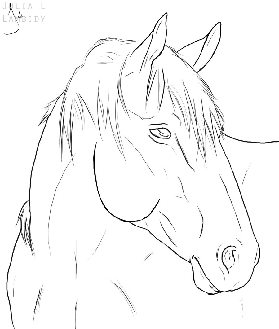 900x1062 Horse Line Drawing Horse Lineart By Lambidy Digital Art Drawings