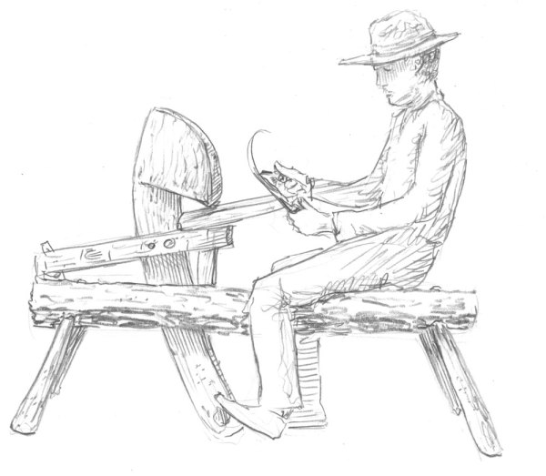 600x523 Drawing Of A Shave Horse In Use. Shave Horses