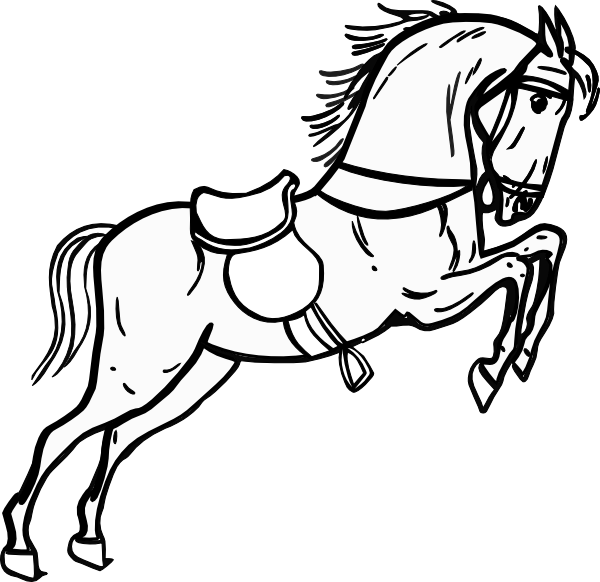 600x582 Horse Jumping Clipart Black And White