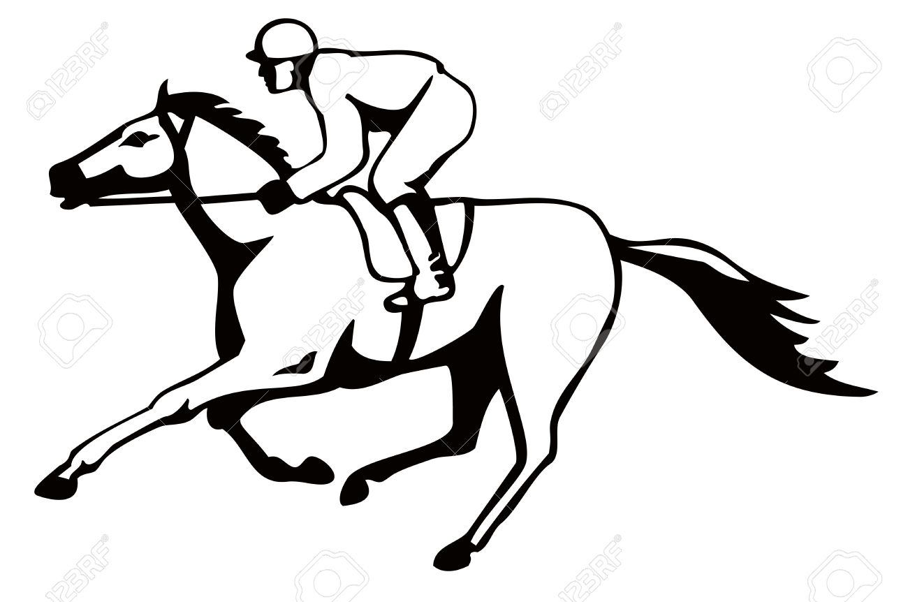 1300x862 Horse Racing Clipart Black And White